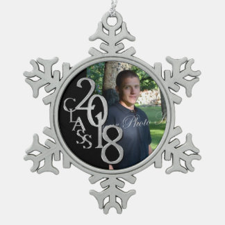 2018 Black and Silver Graduate Photo Snowflake Pewter Christmas Ornament