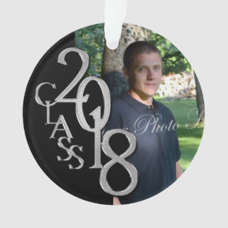 2018 Black and Silver Graduation Photo Ornament