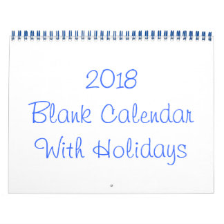 2018 Blank Calendar With Holidays