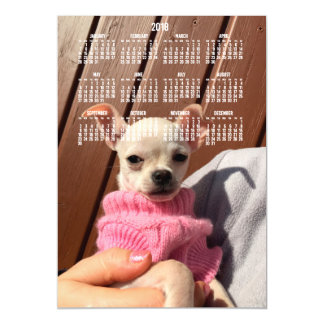 2018 Calendar Chihuahua Photo Magnetic Card 5x7
