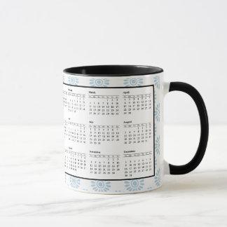 2018 Calendar Coffee Mug Blue and White