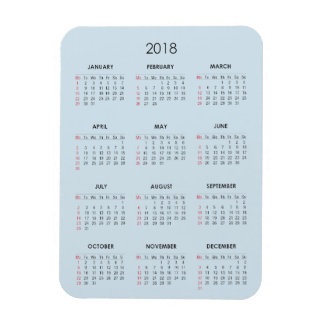 2018 Calendar Magnet Blue Plain Basic