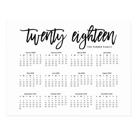 2018 Calendar   Modern Typography Postcard