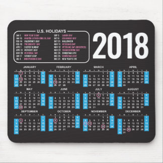 2018 Calendar Mousepad with US Holidays in Black