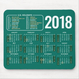 2018 Calendar Mousepad with US Holidays in Green