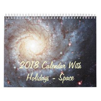 2018 Calendar With Holidays Space Photos