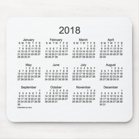 2018 Charcoal and White Calendar by Janz Mouse Pad