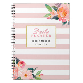 2018 Daily Planner | Girly Pink Stripes Floral Spiral Notebook