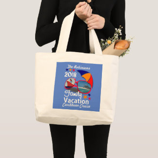 2018 Family Vacation  Cruise Graphic Personalized Large Tote Bag