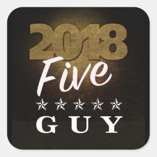 2018 Five Star Guy Gold Text Sticker