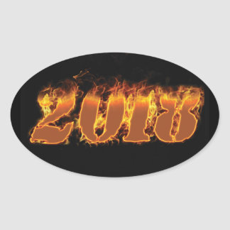 2018 flaming new year sticker