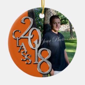 2018 Graduate Photo Ornament Orange
