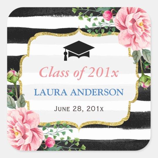 2018 Graduation Floral Black White Stripe Square Sticker