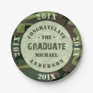 2018 Graduation Party Camouflage Custom Camo Paper Plate