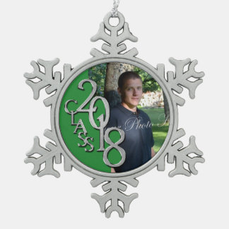 2018 Graduation Photo Keepsake in Green Snowflake Pewter Christmas Ornament