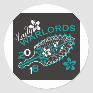 2018 Lady Warlords - Black Round Sticker