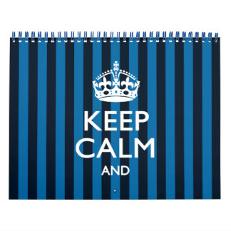 2018 Monthly Personalized KEEP CALM Blue Your Text Wall Calendars