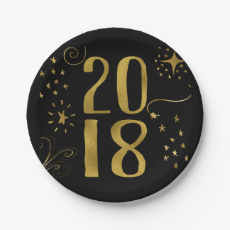 2018 New Year's Eve Party Faux Gold Foil Paper Plate