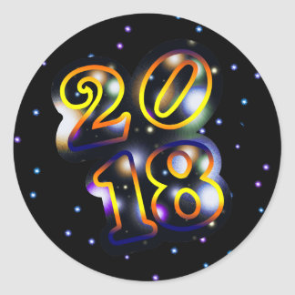 2018 Outer Space Happy New Year Classic Round Sticker