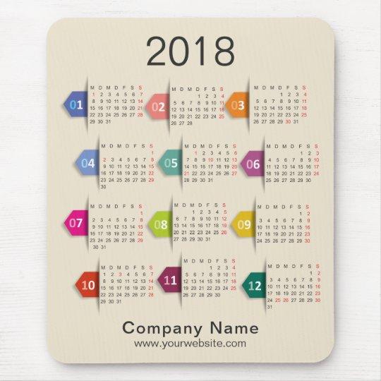 2018 Professional Business Company Calendar Mouse Mat