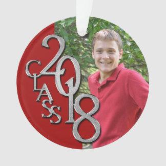2018 Red and Silver Senior Graduation Keepsake Ornament