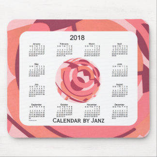 2018 Red Art Deco Framed Calendar by Janz Mouse Mat