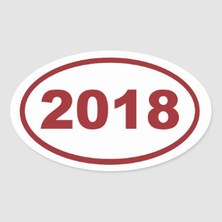 2018 red maroon oval sticker