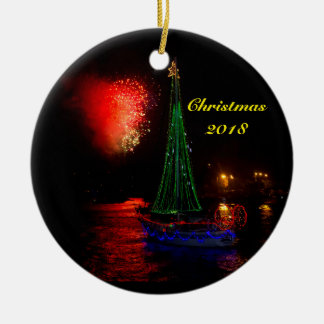 2018 Sailboat and fireworks Ceramic Round Ornament