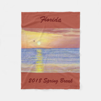 2018 SPRING BREAK  OCEAN SEAGULL FLEECE BLANKET