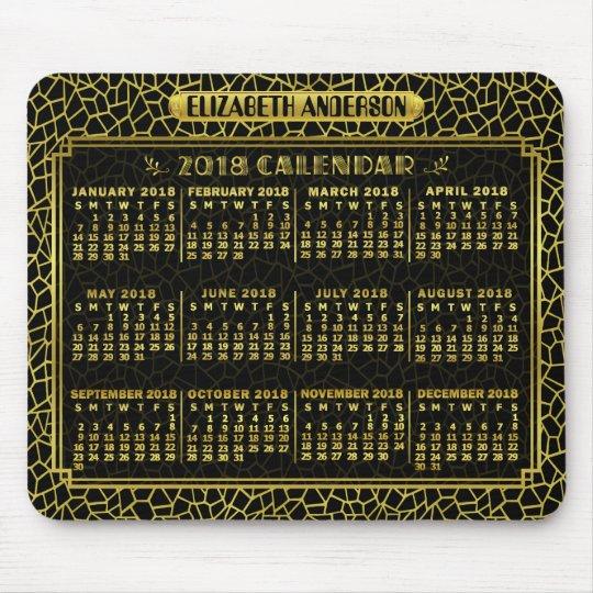 2018 Year Calendar | Gold Black Art Deco Custom Mouse Mat