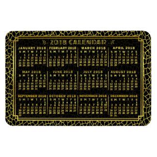 2018 Year Monthly Calendar Art Deco Gold Black Magnet