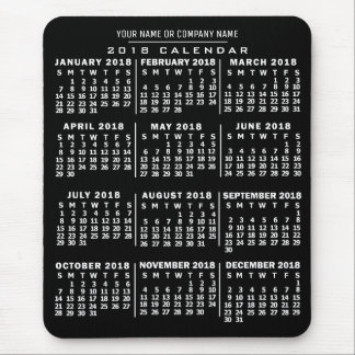 2018 Year Monthly Calendar Black White Custom Name Mouse Mat