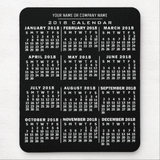 2018 Year Monthly Calendar Black White Custom Name Mouse Mat