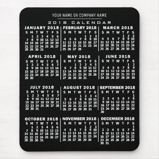 2018 Year Monthly Calendar Black White Custom Name