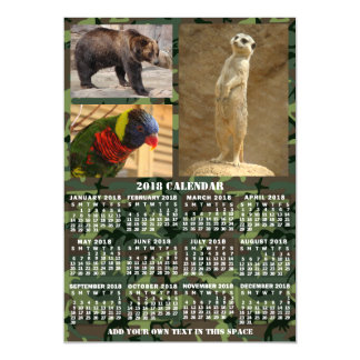 2018 Year Monthly Calendar Camouflage Add 3 Photos Magnetic Card
