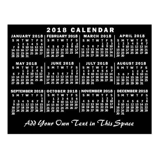 2018 Year Monthly Calendar Classic Black and White