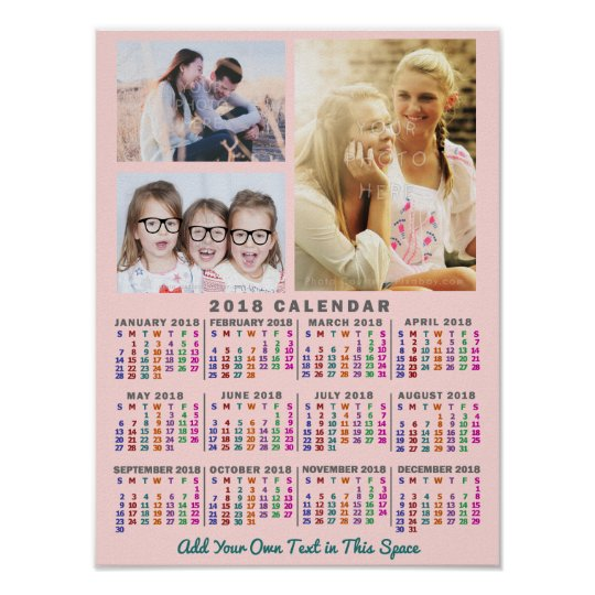 2018 Year Monthly Calendar Colourful Custom 3 Poster