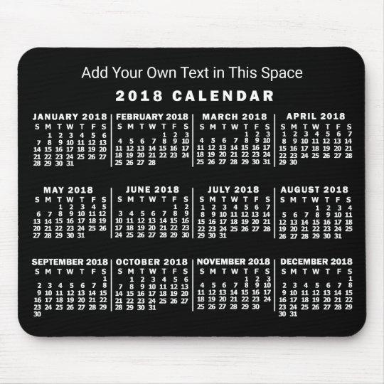 2018 Year Monthly Calendar Custom Black and White