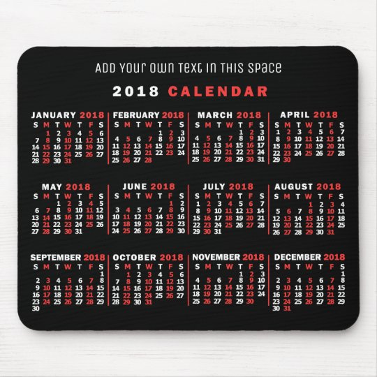 2018 Year Monthly Calendar Custom Black Red White