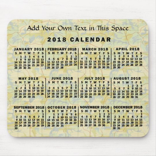 2018 Year Monthly Calendar Old Map Personalised Mouse