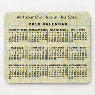 2018 Year Monthly Calendar Old Map Personalized Mouse Mat