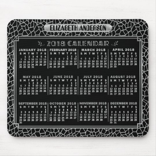 2018 Year Monthly Calendar Silver Black Art Deco Mouse Mat