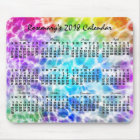 2018 Year Monthly Calendar Tiedye Hippie Rainbow Mouse Mat