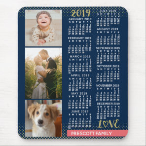 2019 Calendar Navy Coral Gold Family Photo Collage Mouse Mat