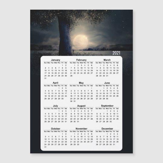 2021 Calendar Magic Tree Full Moon   Zazzle.co.uk