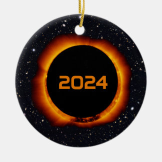 2024 Total Solar Eclipse Date Starry Sky Christmas Ornament