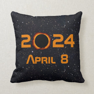 2024 Total Solar Eclipse Date Starry Sky Cushion