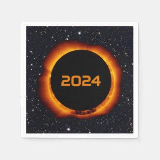 2024 Total Solar Eclipse Date Starry Sky Disposable Serviettes