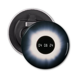 2024 Total Solar Eclipse in Black and White Bottle Opener