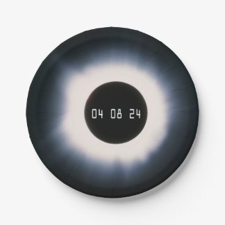 2024 Total Solar Eclipse in Black and White Paper Plate